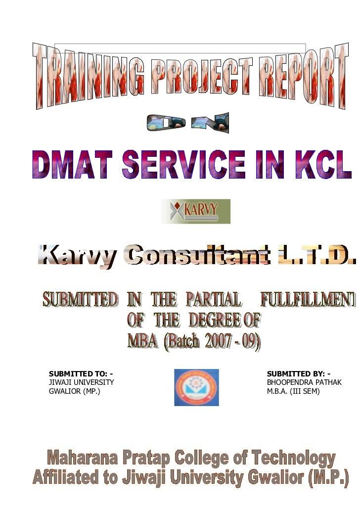 Karvy project report