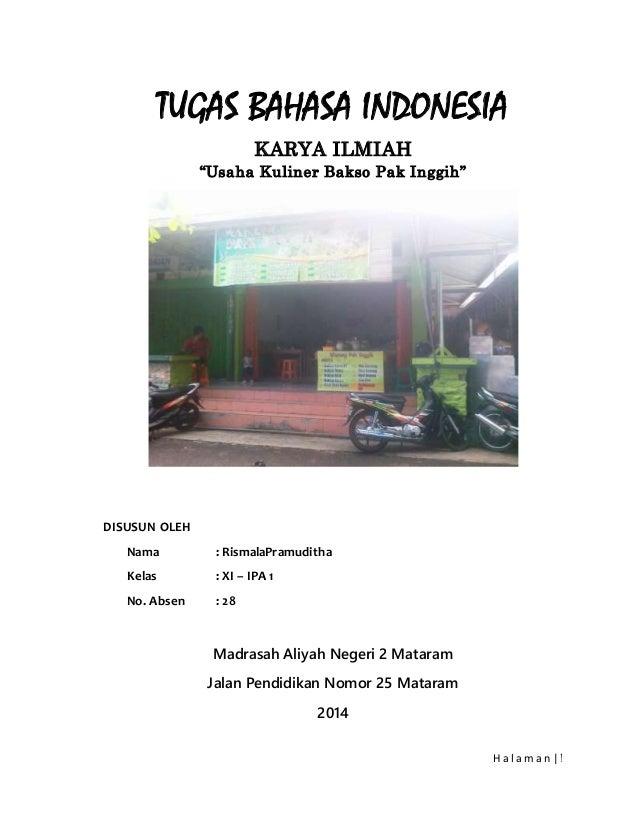"Contoh KARYA ILMIAH Bahasa Indonesia mengenai ""Usaha Kuliner Bakso"""