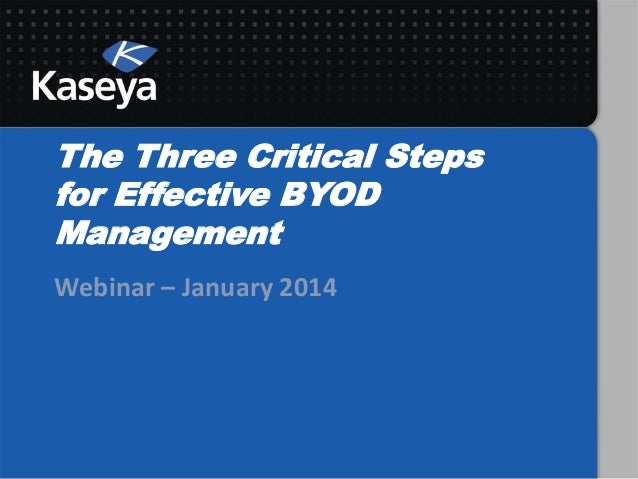 The Three Critical Steps for Effective BYOD Management Webinar – January 2014