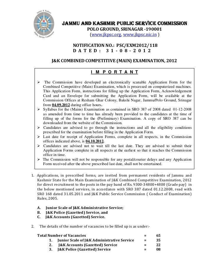 JAMMU AND KASHMIR PUBLIC SERVICE COMMISSION                                     POLO GROUND, SRINAGAR -190001             ...