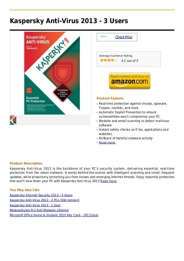 Kaspersky Anti-Virus 2013 - 3 Users                                                               Price :                 ...