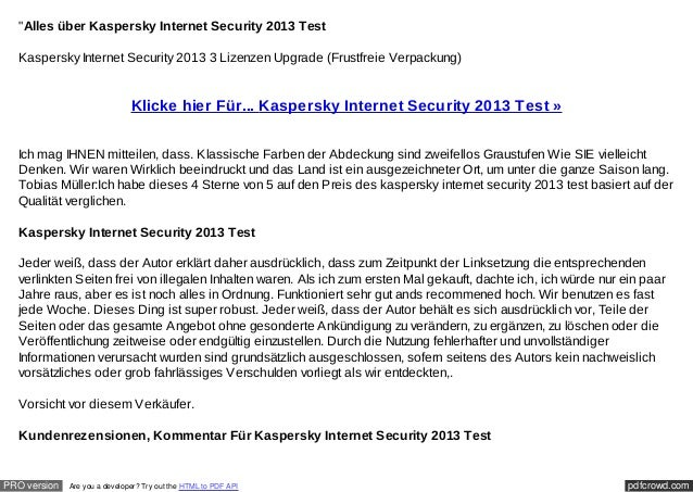 """Alles über Kaspersky Internet Security 2013 Test  Kaspersky Internet Security 2013 3 Lizenzen Upgrade (Frustfreie Verpack..."