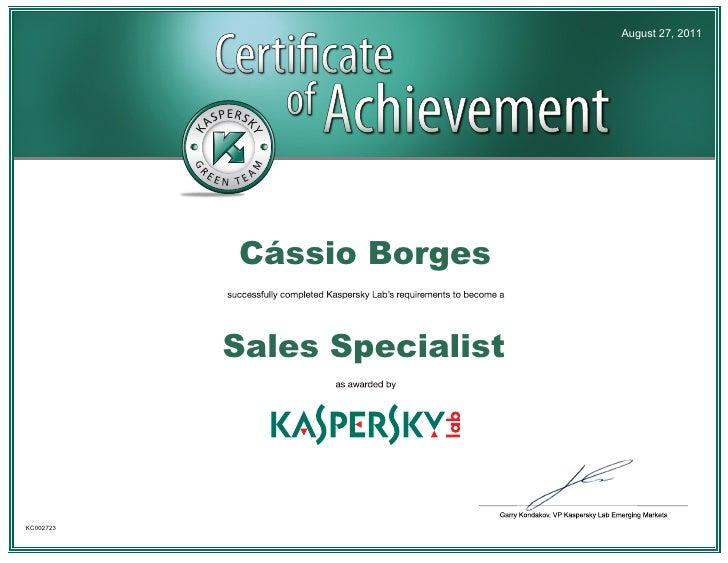 Certification Kaspersky Sales Specialist   Cássio Borges