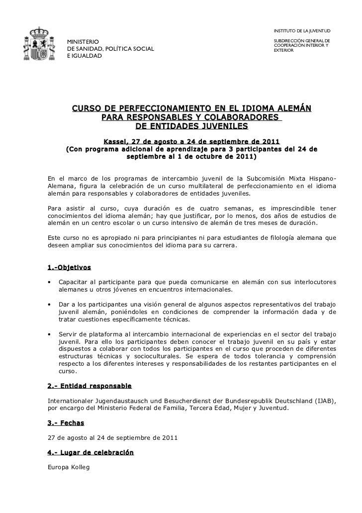 INSTITUTO DE LA JUVENTUD      MINISTERIO                                                           SUBDIRECCIÓN GENERAL DE...
