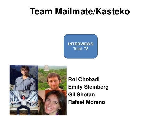 Team Mailmate/Kasteko        INTERVIEWS          Total: 78        Roi Chobadi        Emily Steinberg        Gil Shotan    ...