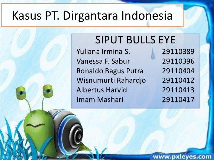 Kasus PT. Dirgantara Indonesia                 SIPUT BULLS EYE            Yuliana Irmina S.     29110389            Vaness...