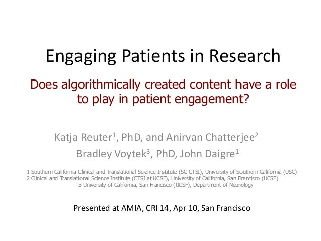 Engaging Patients in Research: Does algorithmically created content have a role to play in patient engagement?