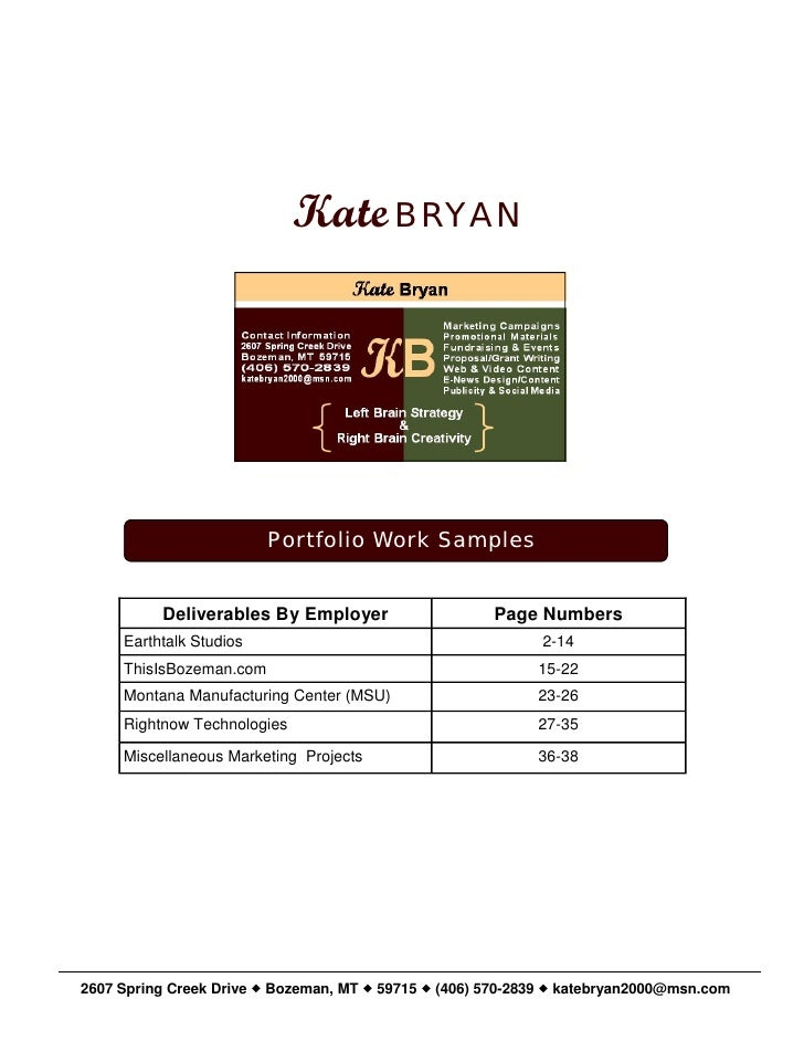 Kate BRYAN                              Portfolio Work Samples             Deliverables By Employer                    Pag...