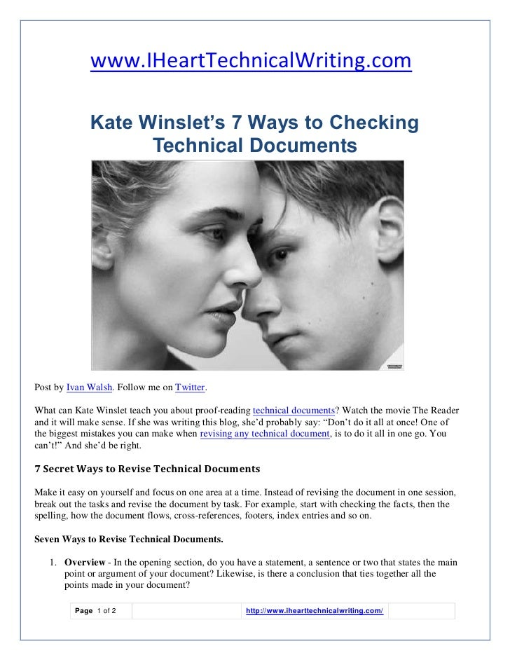 www.IHeartTechnicalWriting.com                Kate Winslet's 7 Ways to Checking                     Technical Documents   ...