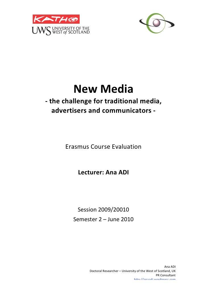Katho New Media- course evaluation -May 2010