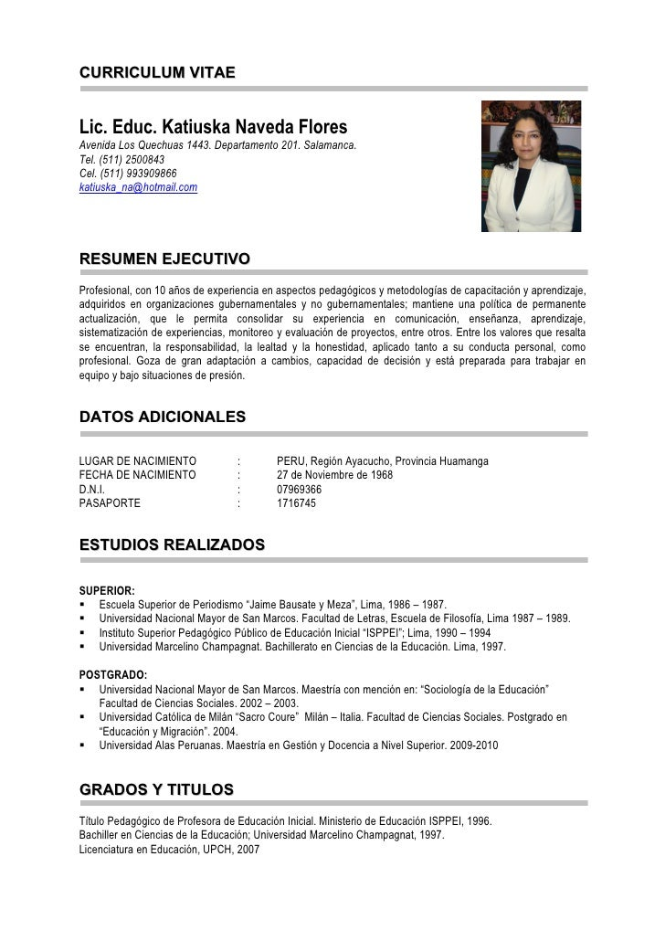 modelo curriculum vitae docente nivel inicial - elaboraci 243 n ...