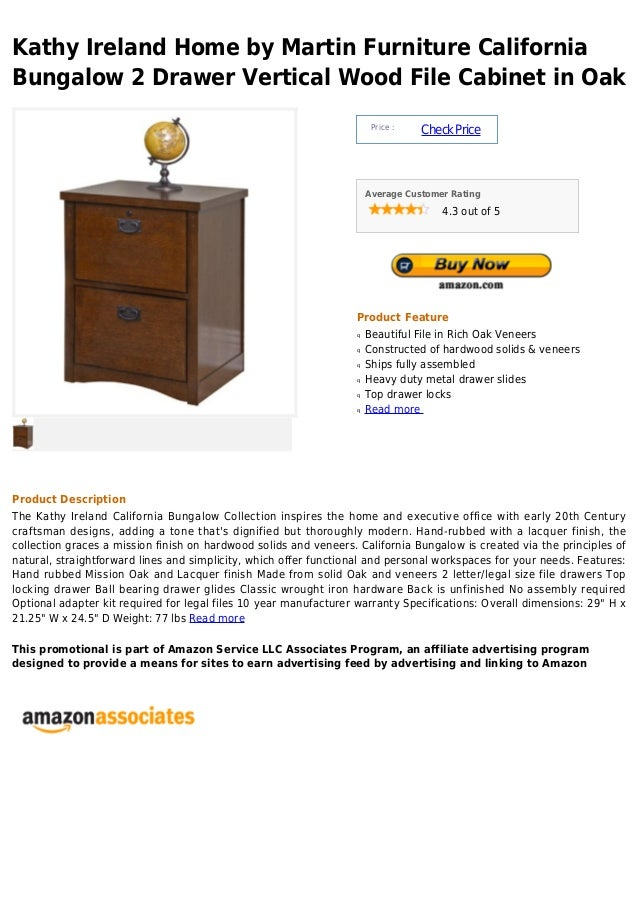 Kathy Ireland Home by Martin Furniture CaliforniaBungalow 2 Drawer Vertical Wood File Cabinet in Oak                      ...