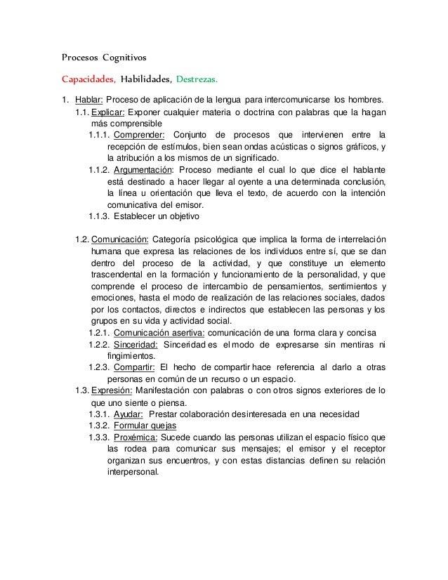 Procesos Cognitivos  Capacidades, Habilidades, Destrezas.  1. Hablar: Proceso de aplicación de la lengua para intercomunic...