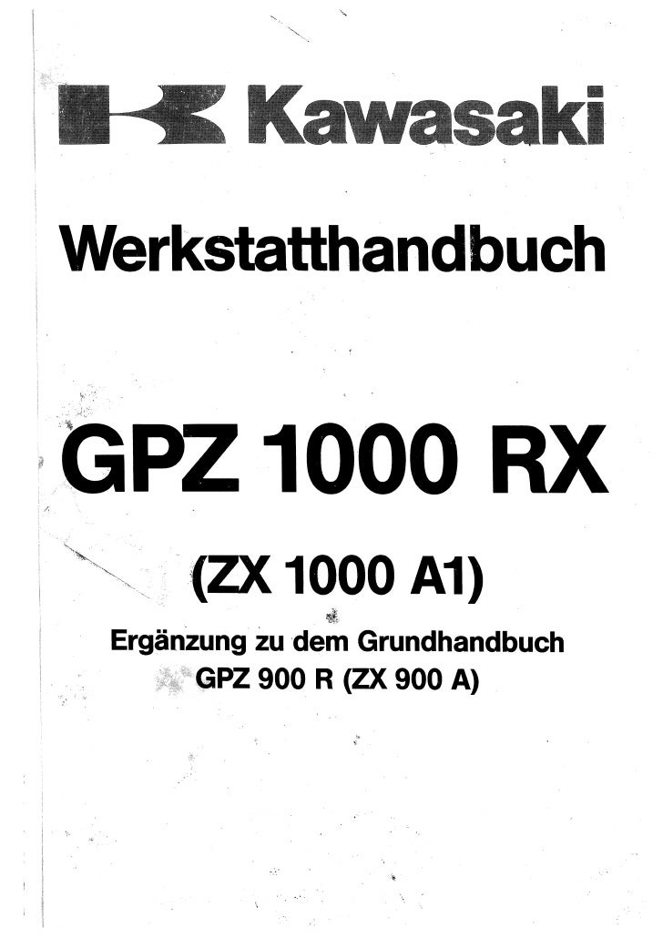 kawasaki gpz1000 rx complementary service manual for
