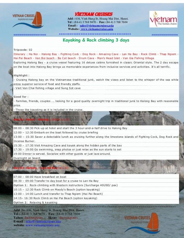 halong bay: Kayaking & rock climbing 3 days