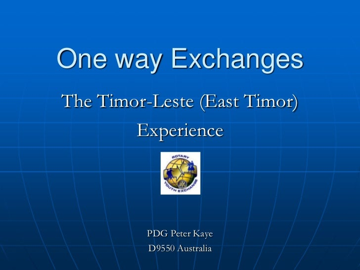 YEO 2012_One Way Exchanges: The Timor-Leste (East Timor) Experience