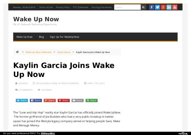 Monday , 28 April 2014 Wake Up Now My #1 Network Marketing Opportunity  DLICIAGA  KAYLIN GARCIA, WAKE UP NOW CELEBRITIES...