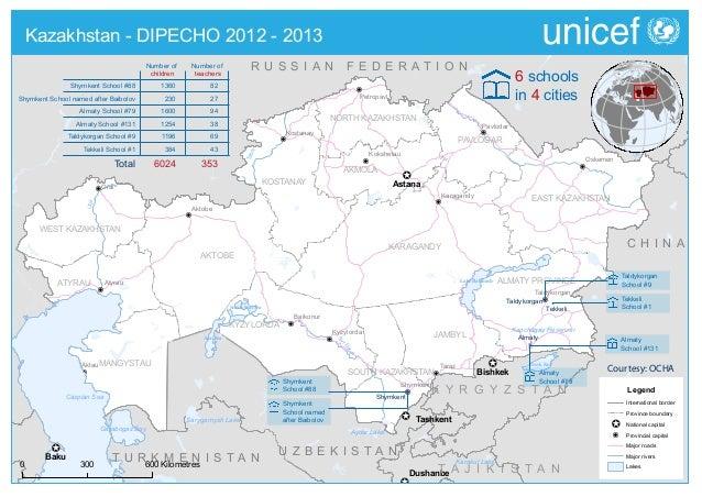 DIPECHO 2012 - 2013 country level school map - Kazakhstan