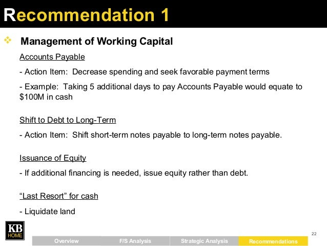 recommendations to management