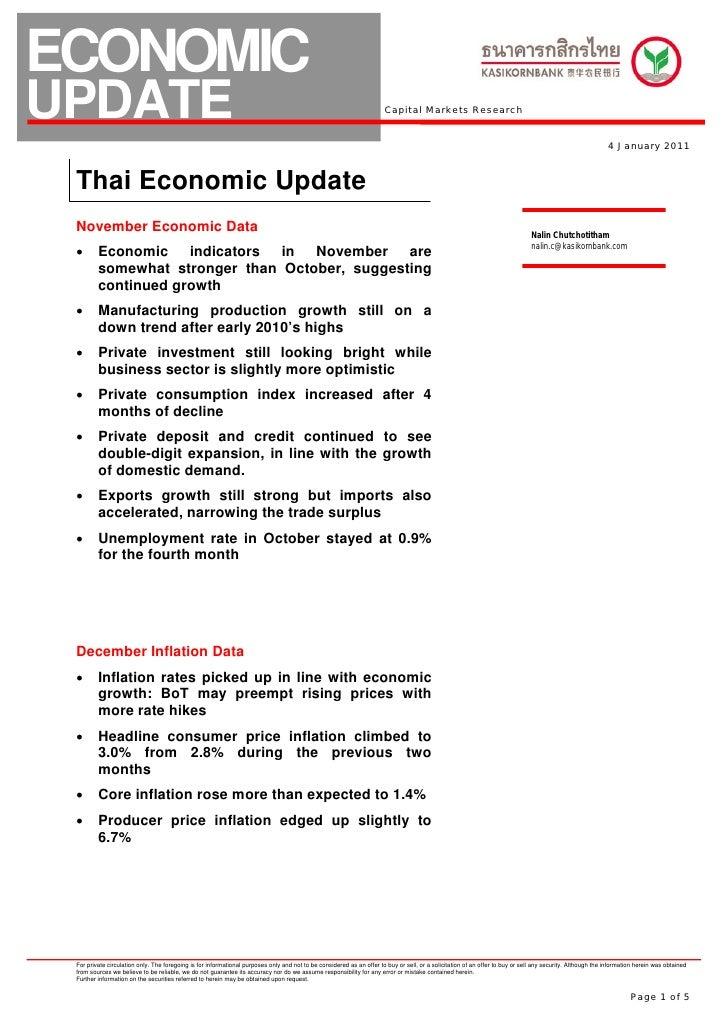 KBank econ update jan 2011