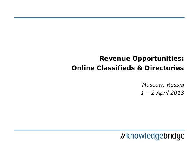 KB Seminars: Revenue Opportunities: Online Classifieds & Directories; 04/13