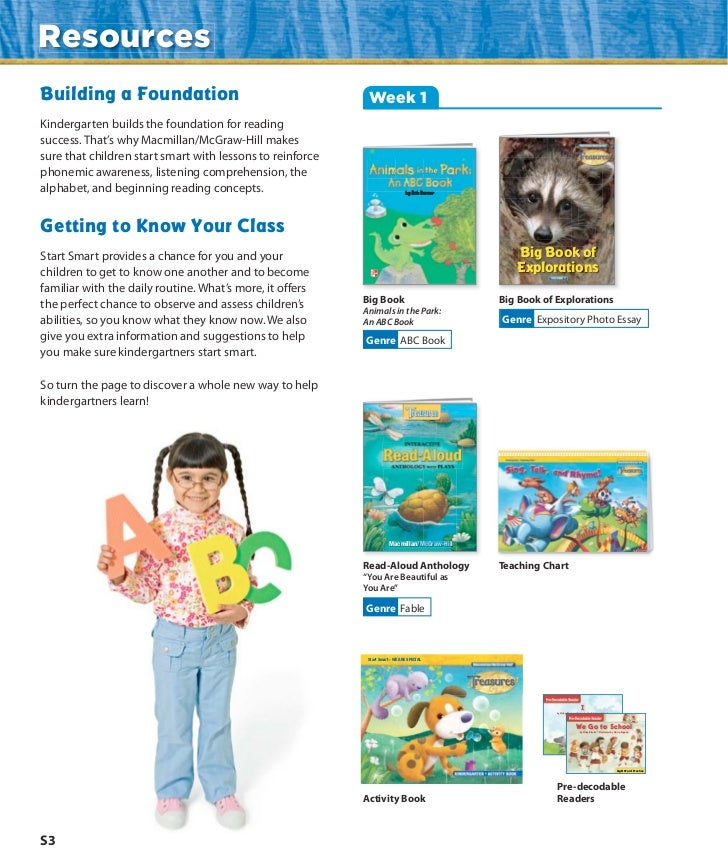 ResourcesBuilding a Foundation                                       Week 1Kindergarten builds the foundation for readings...
