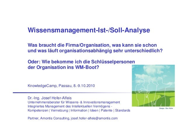 Wissensmanagement-Ist-/Soll-Analyse Was braucht die Firma/Organisation, was kann sie schon und was läuft organisationsabhä...