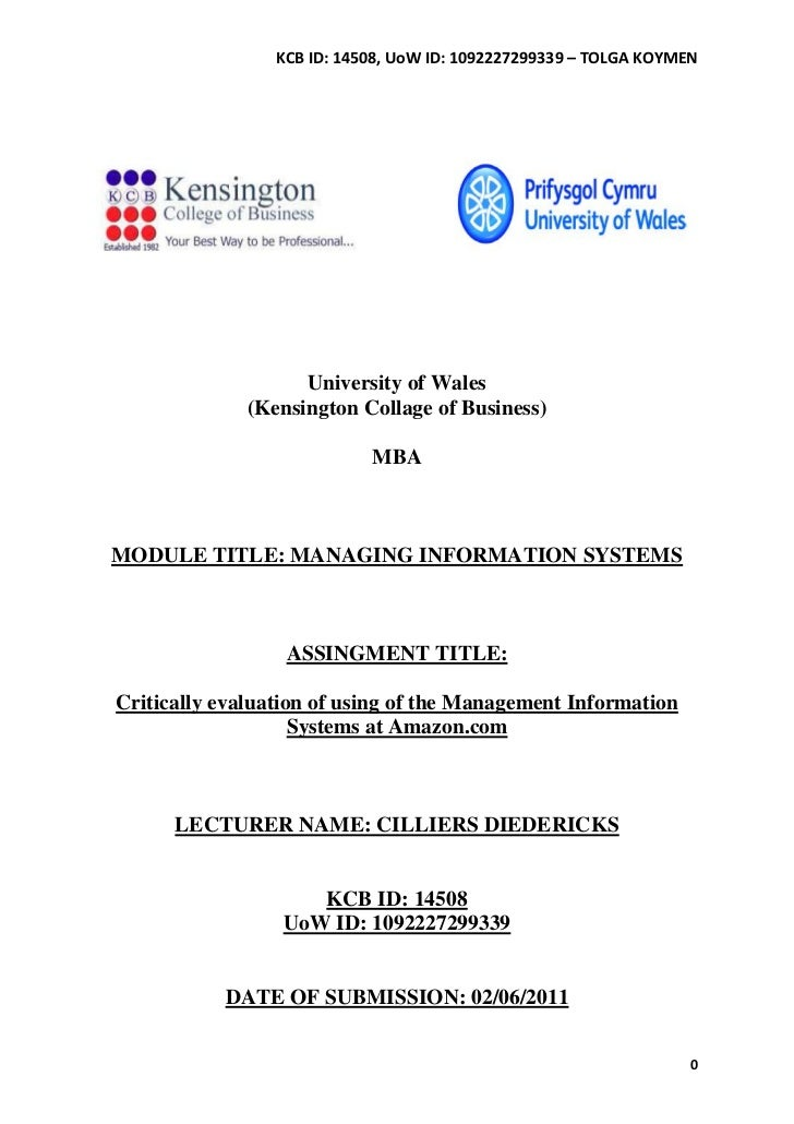 KCB ID: 14508, UoW ID: 1092227299339 – TOLGA KOYMEN                    University of Wales              (Kensington Collag...