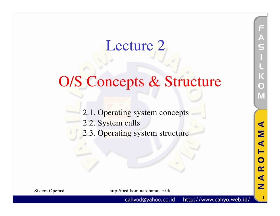 Lecture 2             O/S Concepts & Structure                  2.1. Operating system concepts                  2.2. Syste...