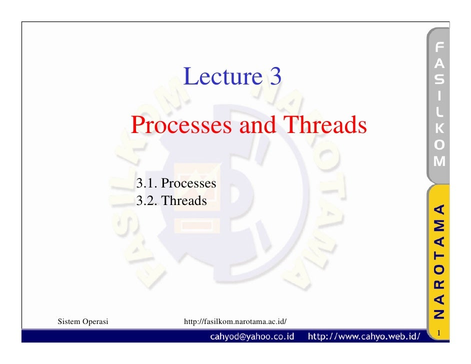 Lecture 3                  Processes and Threads                   3.1. Processes                  3.2. Threads     Sistem...