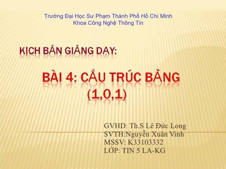 GVHD: Th.S Lê Đức Long SVTH:Nguyễn Xuân Vinh MSSV: K33103332 LỚP: TIN 5 LA-KG Trường Đại Học Sư Phạm Thành Phố Hồ Chí Minh...
