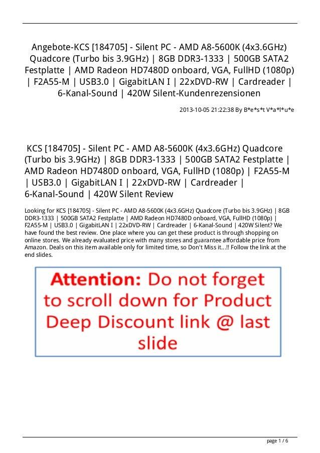 Angebote-KCS [184705] - Silent PC - AMD A8-5600K (4x3.6GHz) Quadcore (Turbo bis 3.9GHz) | 8GB DDR3-1333 | 500GB SATA2 Fest...