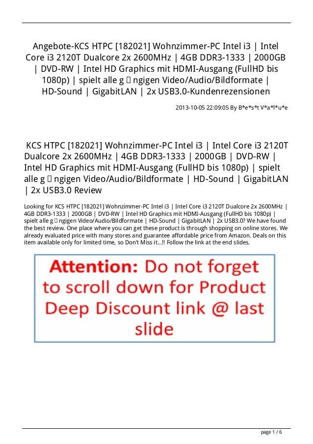 Angebote-KCS HTPC [182021] Wohnzimmer-PC Intel i3 | Intel Core i3 2120T Dualcore 2x 2600MHz | 4GB DDR3-1333 | 2000GB | DVD...