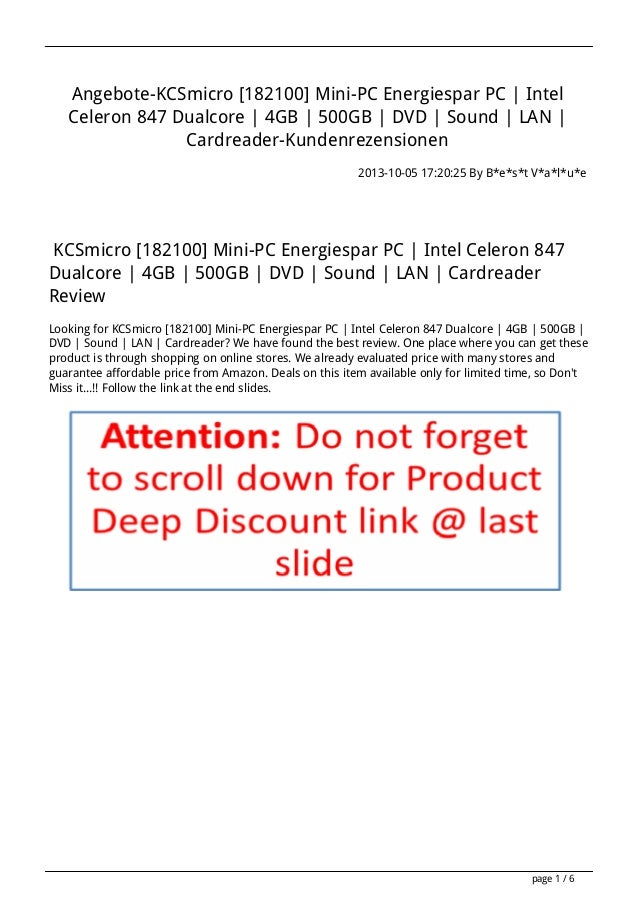 Angebote-KCSmicro [182100] Mini-PC Energiespar PC   Intel Celeron 847 Dualcore   4GB   500GB   DVD   Sound   LAN   Cardrea...