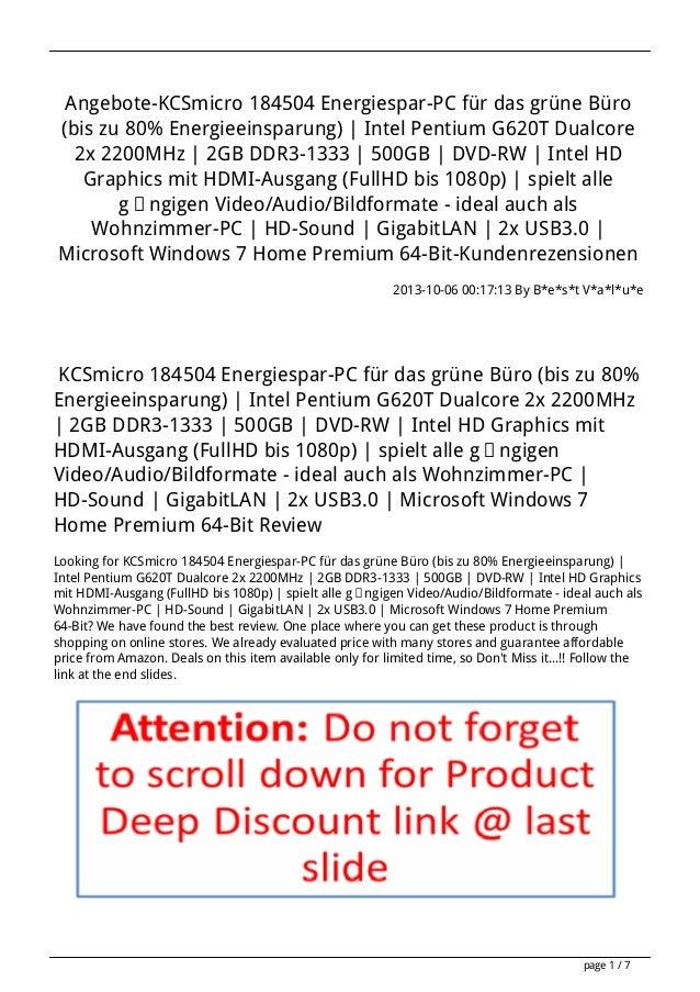 Angebote-KCSmicro 184504 Energiespar-PC für das grüne Büro (bis zu 80% Energieeinsparung) | Intel Pentium G620T Dualcore 2...