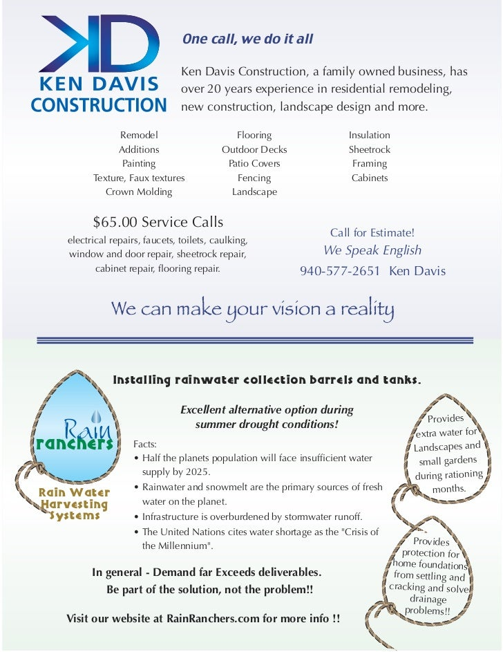 One call, we do it all                                 Ken Davis Construction, a family owned business, has               ...