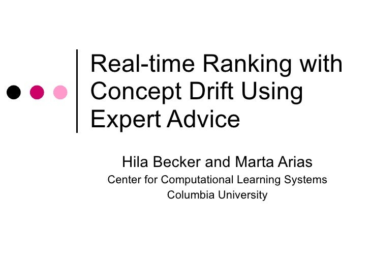 Real-time ranking with concept drift using expert advice