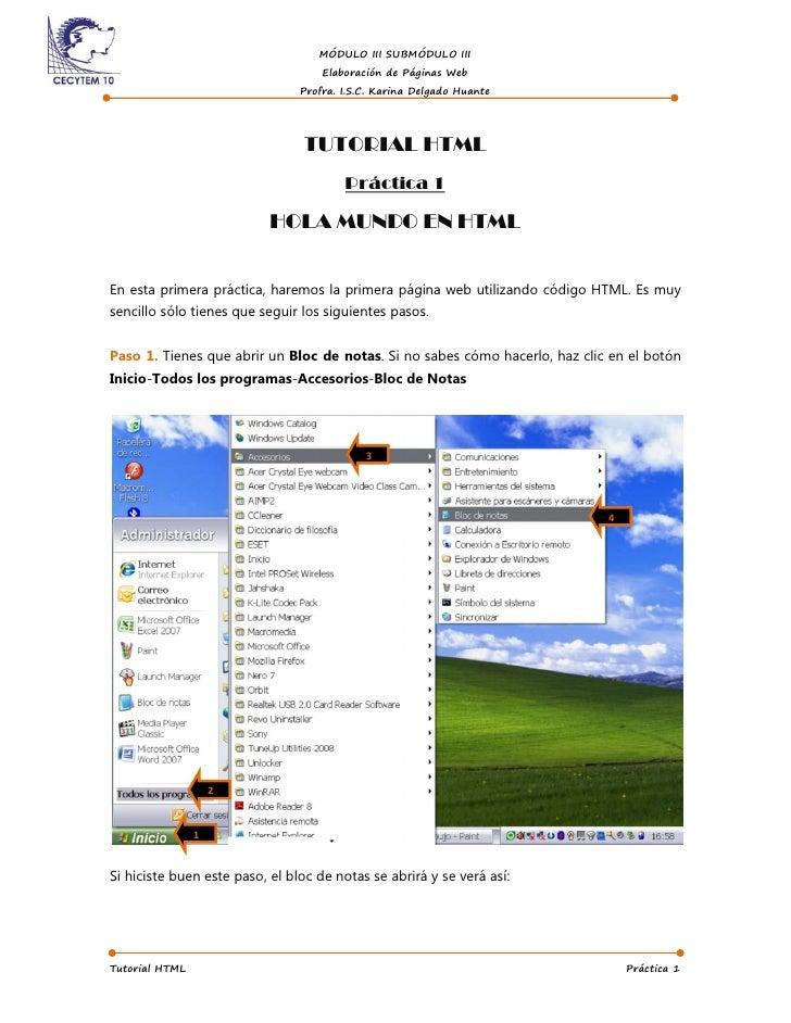 MÓDULO III SUBMÓDULO III                                     Elaboración de Páginas Web                                 Pr...