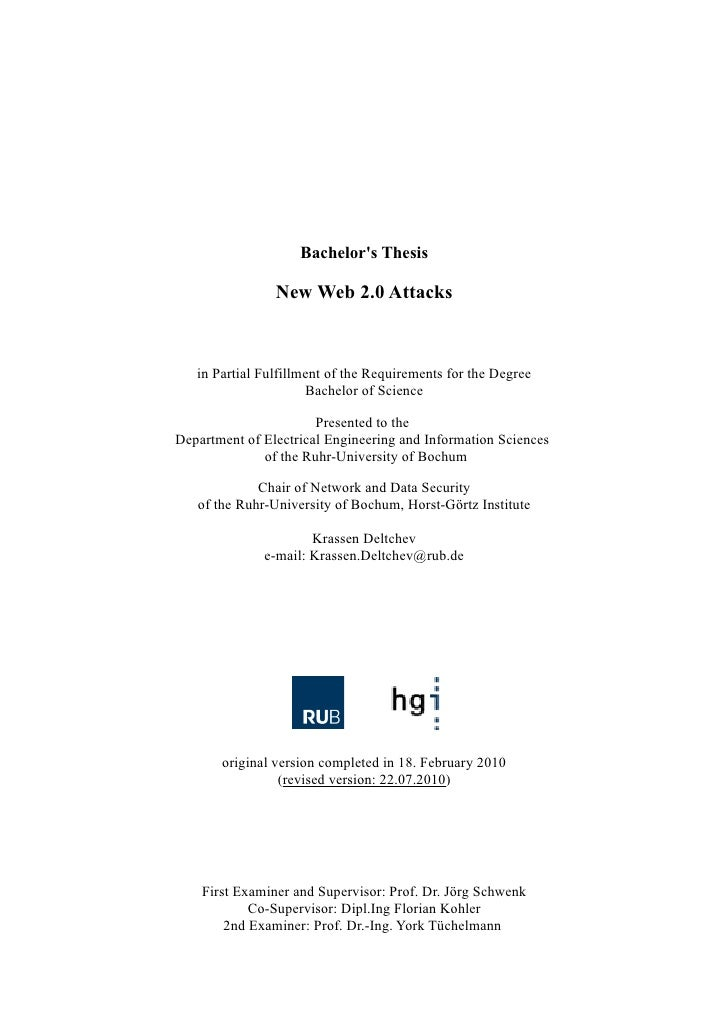 New Web 2.0 Attacks, B.Sc. Thesis