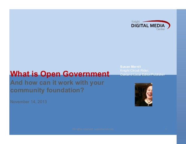 Open Government and local community foundations: Getting involved