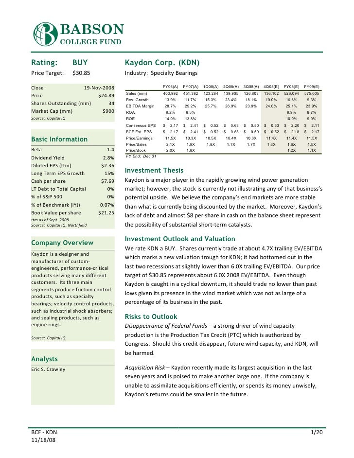 BABSON                COLLEGE FUND   Rating:               BUY                  Kaydon Corp. (KDN) Price Target:         $...