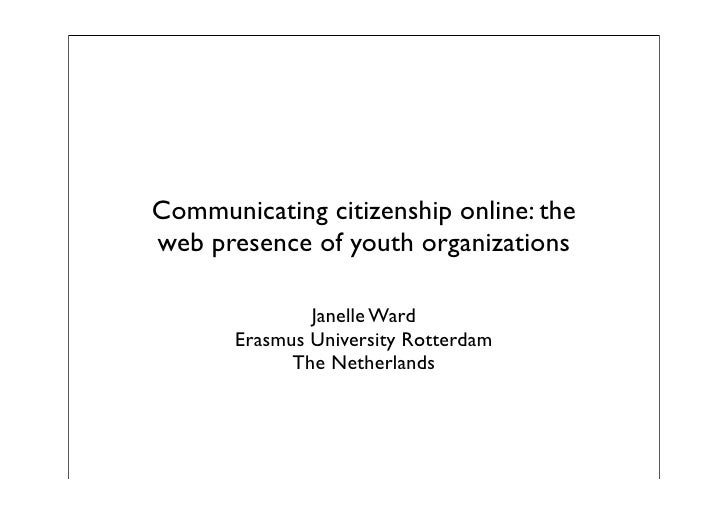 Communicating citizenship online: the web presence of youth organizations