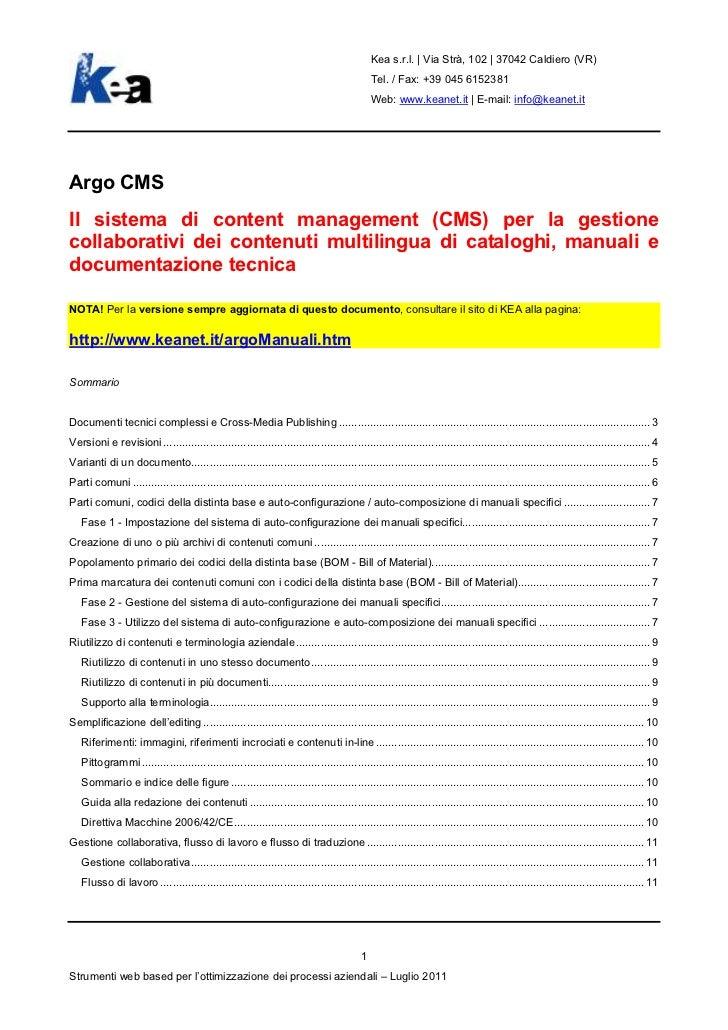 Argo CMS e PIM - Presentazione aggiornata del sistema di gestione di documentazione tecnica, manuali e cataloghi