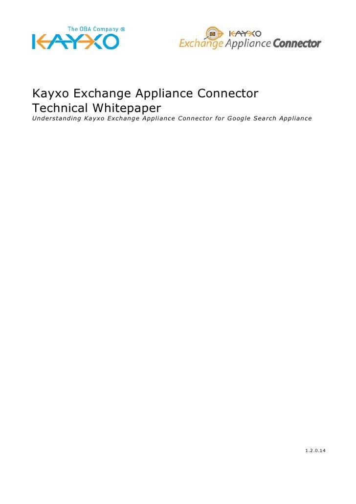 KEAC  -  Whitepaper - Kayxo Exchange Adapter for BizTalk