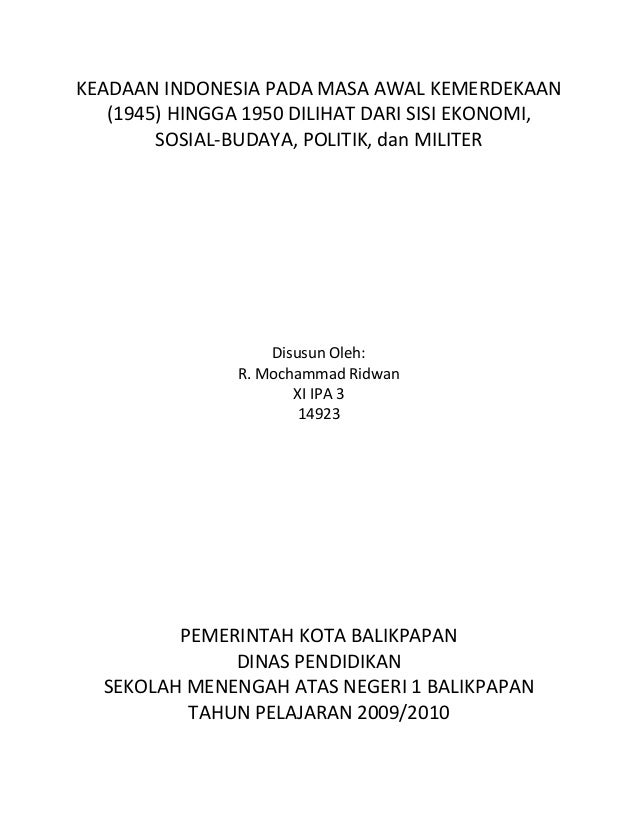 Keadaan ekonomi indonesia pada masa 1945 1950