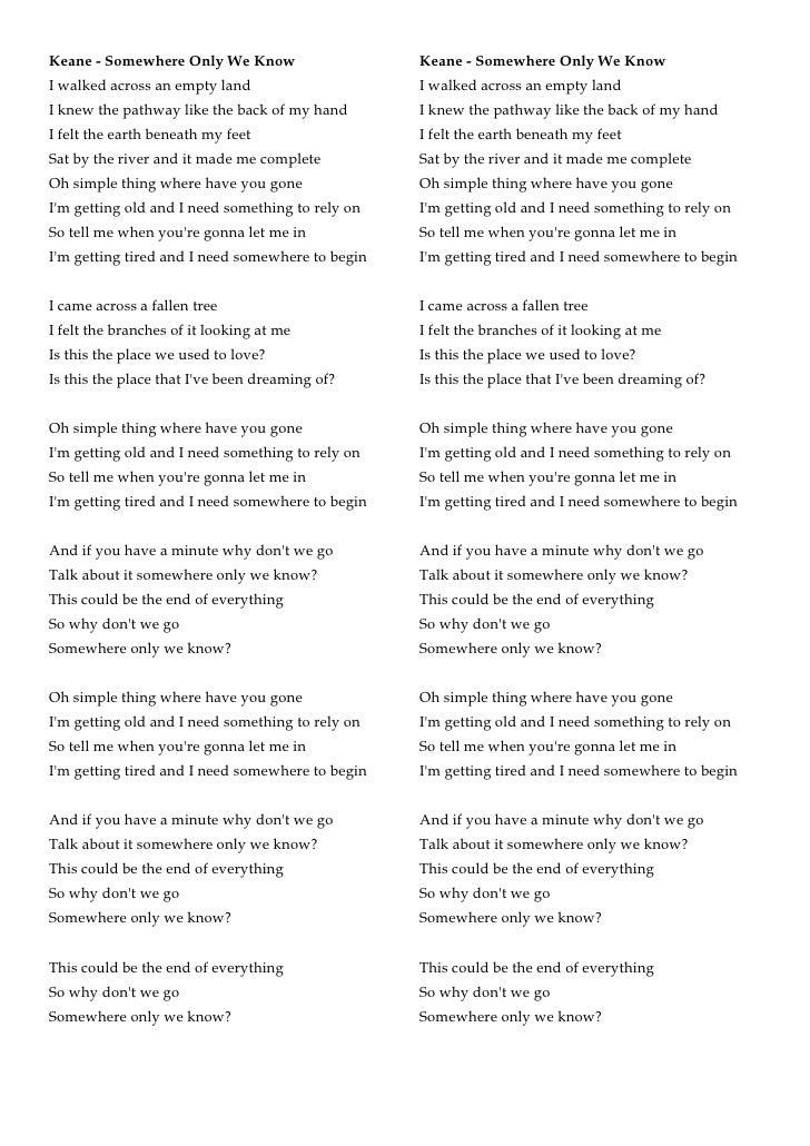 Somewhere only we knew lyrics