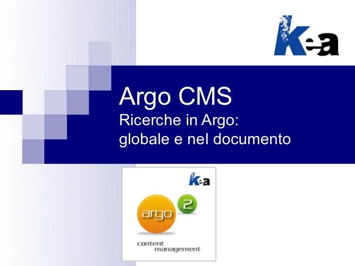 Argo CMS: funzioni di ricerca nella documentazione tecnica