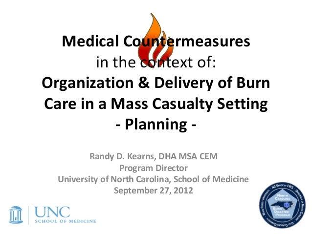 MedicalCountermeasures       inthecontextof:Organization&DeliveryofBurnCareinaMassCasualtySetting          ...