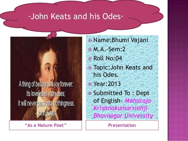 Keats & his Odes