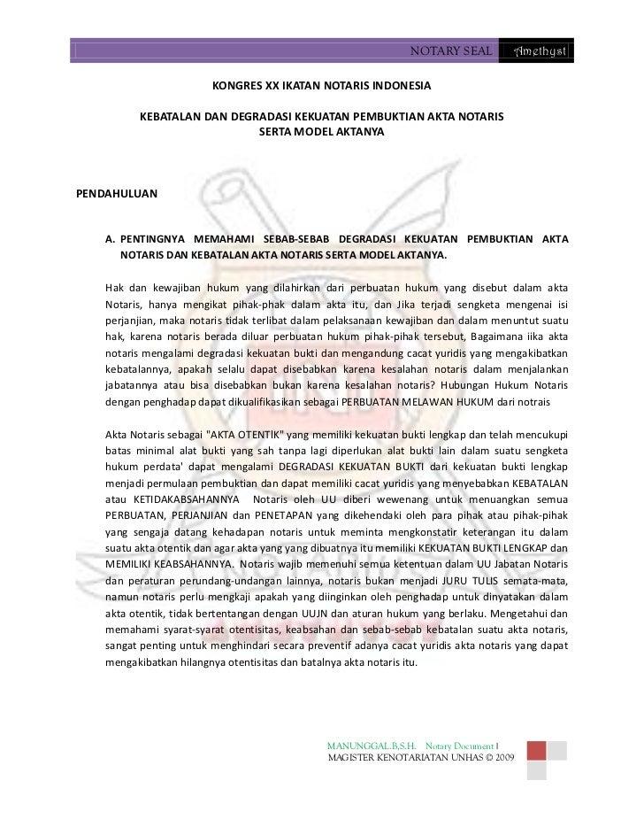 NOTARY SEAL          Amethyst                         KONGRES XX IKATAN NOTARIS INDONESIA          KEBATALAN DAN DEGRADASI...